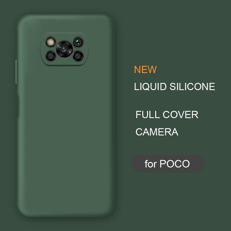 Nova capa completa Capa de telefone de silicone líquido para Xiaomi Poco X3 NFC M2 F2 Pro X2 Global Original Soft Protective Back Capas