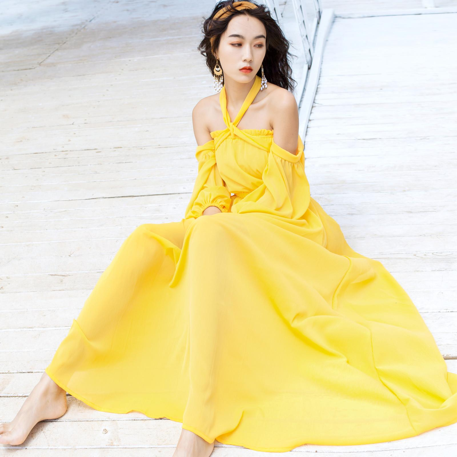 2021 yaz plaj giyinmiş gevşek sarı katı kadın halter yaka fener elastik bel elbise kadın boho j8rn
