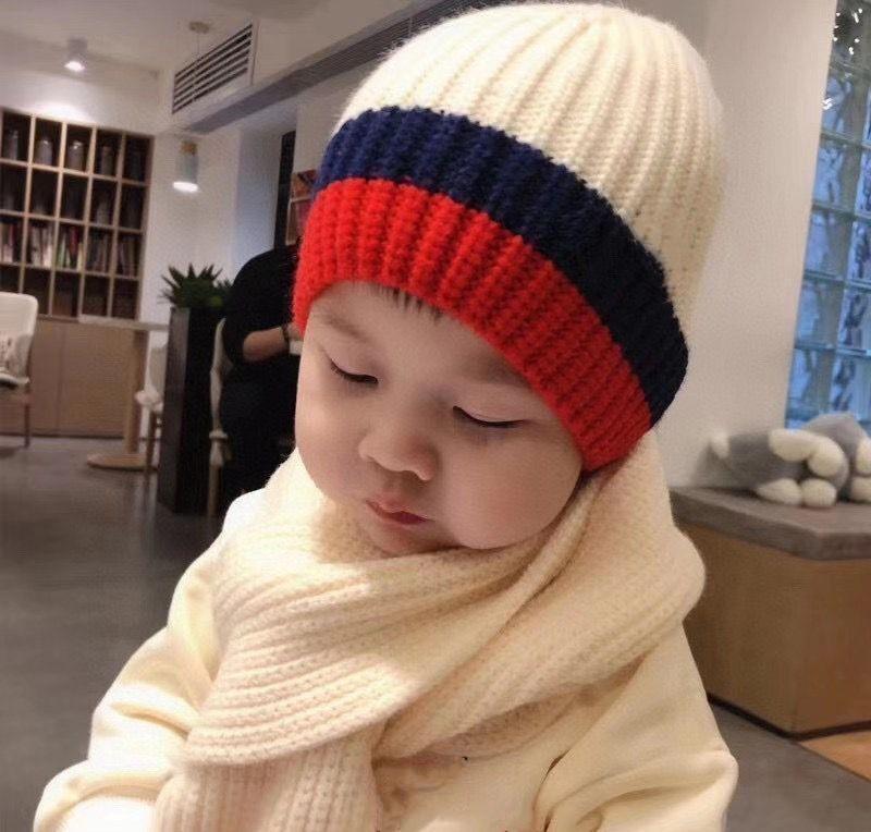 Hiver bébé enfants casquettes solides écharpe laine chaude chapeau jolie chapeau + écharpe enfants chapeau de chapeau de cou