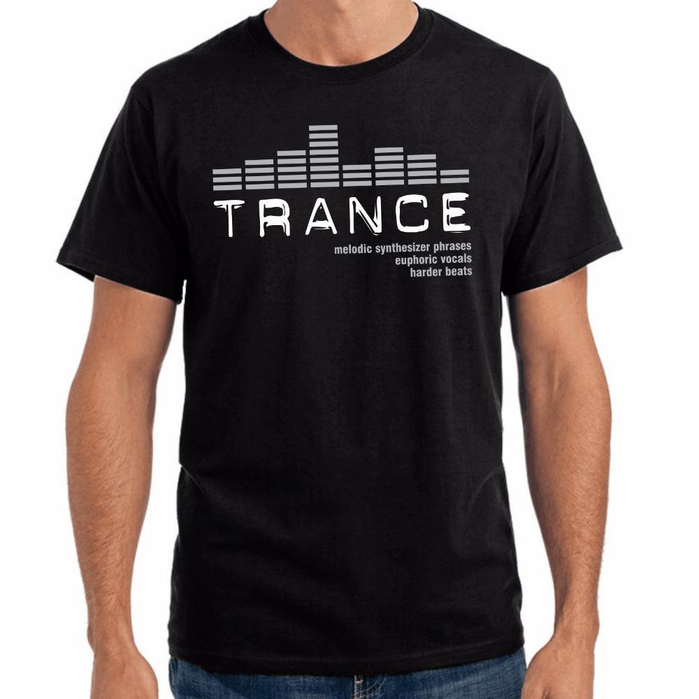 sport degli uomini 2018 Maschio di vendita maglietta marchio di abbigliamento casual Tees Trance Eq rotonda Collare misura del cotone T-shirt musicali
