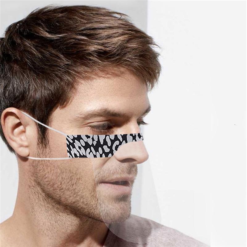 Maschera Leopard Stampato Fashion DesAf-Mute Trasparente 6 Faccia Maschera Maschera Colore Riutilizzabile Maschere Anti Dust Antifog Antifog ErCall Clear Lip PVC Mask XL2ZA