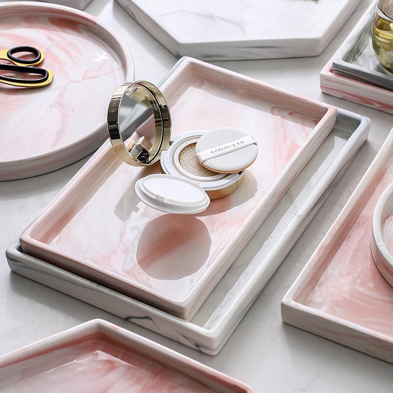 Acrylic Ceramic PizzA Plate Gray Pink Personalized Marble Designs Porcelain Bedside Jewelry Storage Service Tray Holder Q0108