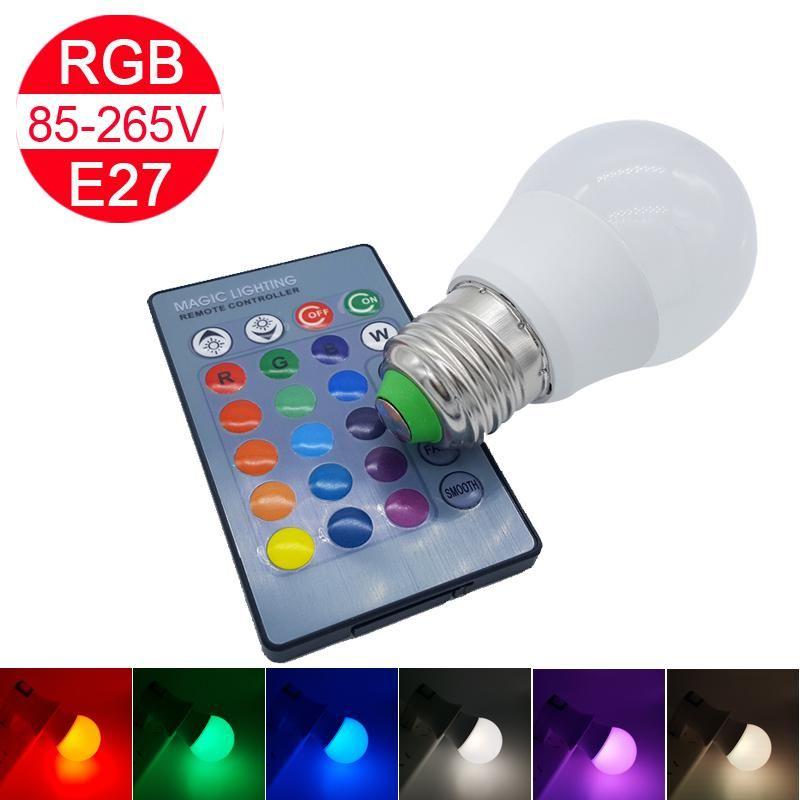 Più economico lampadina di RGB E27 3W AC85 -265v Rgb Led Light Lampada 16 del cambiamento di colore con il regolatore a distanza per Casa decorazione luce 50pcs