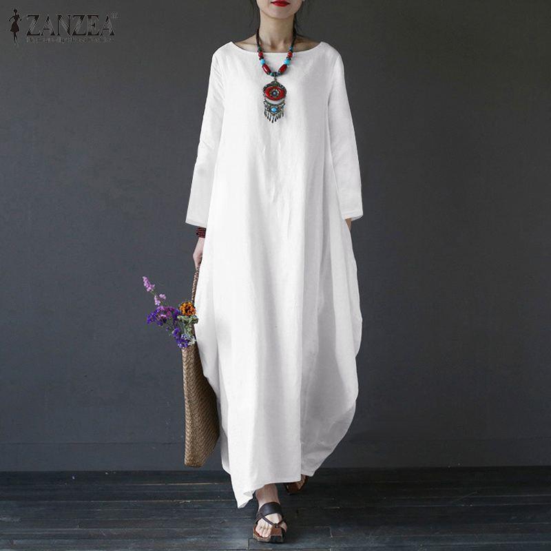 Zanzea Women Biancheria in cotone Sundress Casual Vintage Maxi Dress Dress Abito a maniche lunghe Vestiti Abiti a maniche lunghe Robe Femme Kaftan Vestiso Plus Size