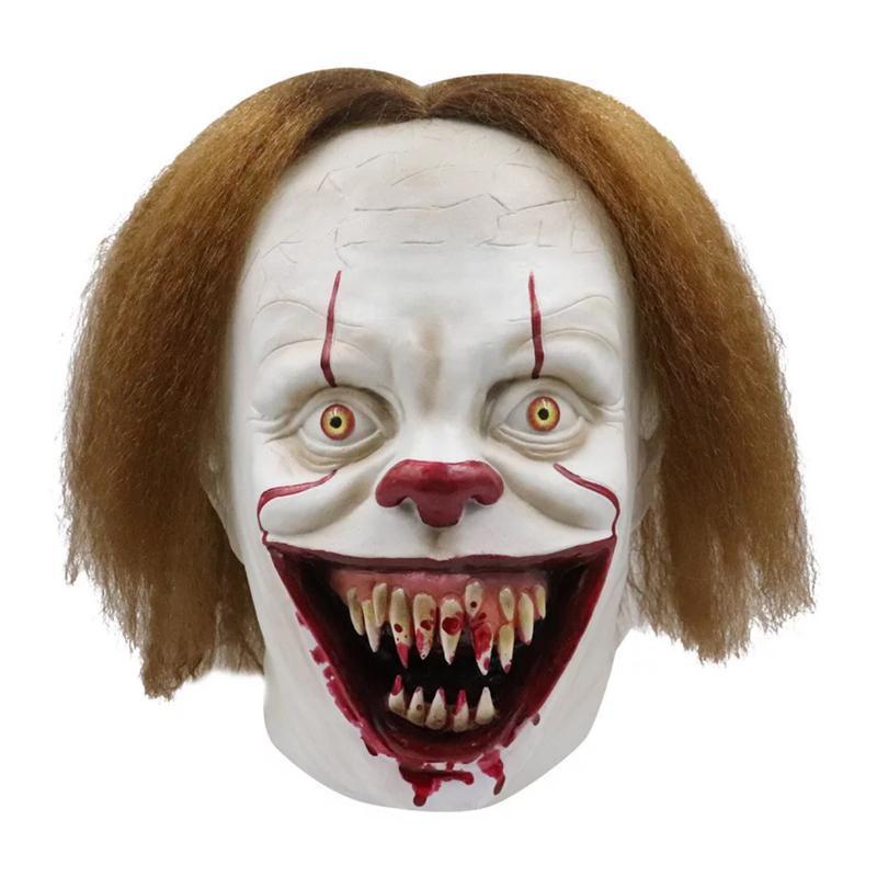 Силиконовый фильм Стивен King's It 2 Joker Pennewise Full Face Hallow Clown Латексная маска Хэллоуина Партия ужасная косплей маски SPORE EWE256