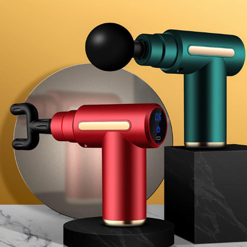Mini Fascia Gun LCD Screen Display Massage Gun 4 Heads 30 Speed Gear Deep Muscle Massager Gun Body Tissue Percussion Massager