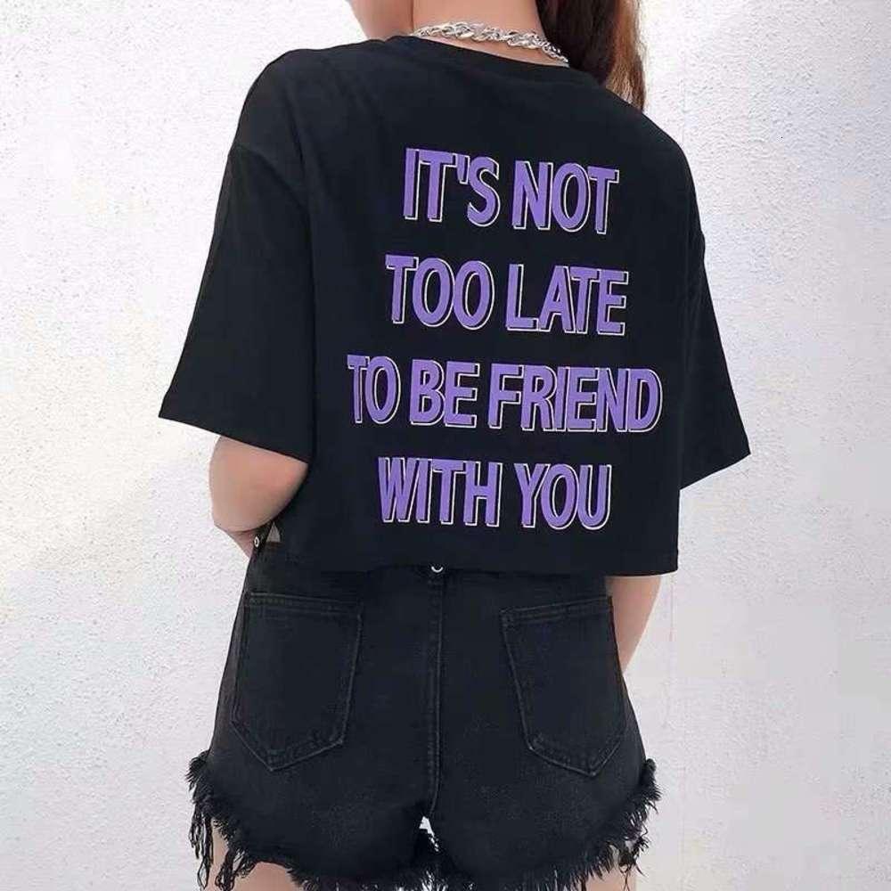 Navel Frente y camiseta detrás letras expuestas manga de mujeres sueltas verano nuevo cintura alta jazz baile corto corto