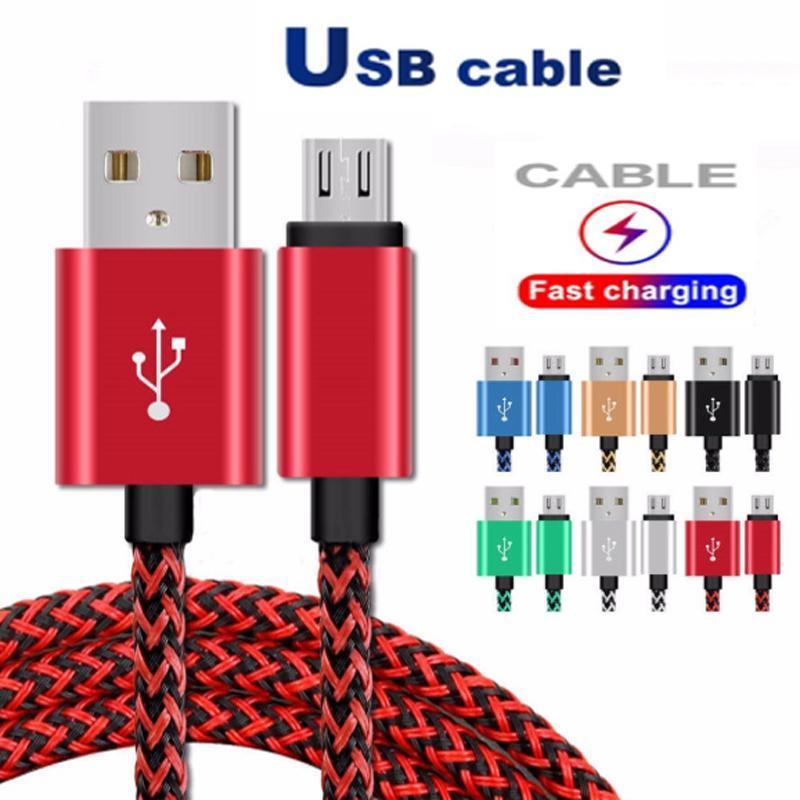 2A Câbles USB Type C Données Synchronisation de la synchronisation Téléphone de chargement Épaisseur Strong tressé Micro câble