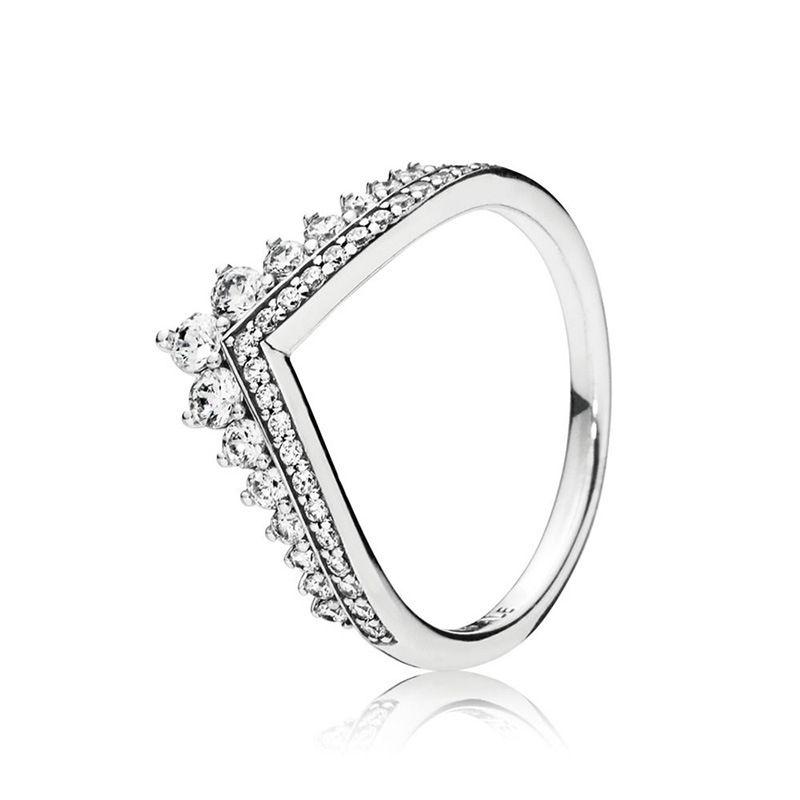 CLEAR CZ Diamant Princess Wunsch Ring Set Original Box für Pandora 925 Sterling Silber Frauen Mädchen Hochzeit Kronenringe