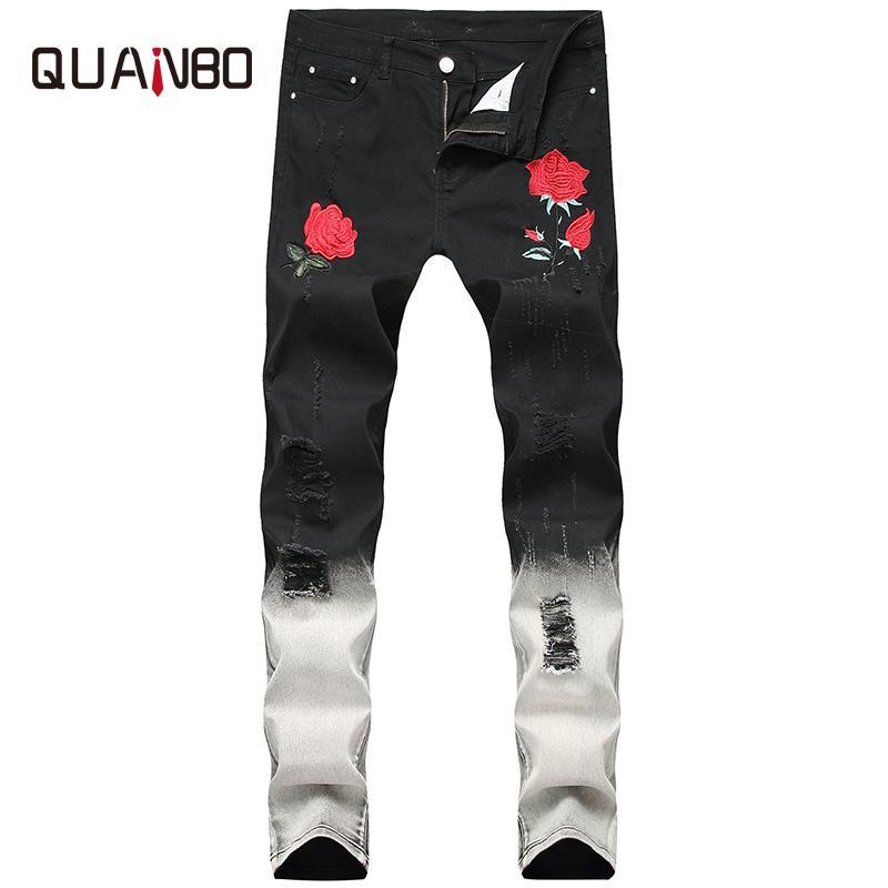 38 Herbststickerei Schwarze Männer Quanbo Winter Mode Hold Ripping Rose Streetwear Männer Distressed Plus Size Jeans 40 ENPIM