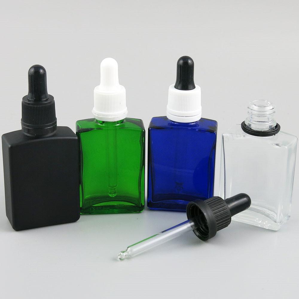 12 x 30ml kwadratowy płaski 1 uncja biały czarny jasny niebieski szkło E Pojemnik cieczy z sabotażową butelką kroplową