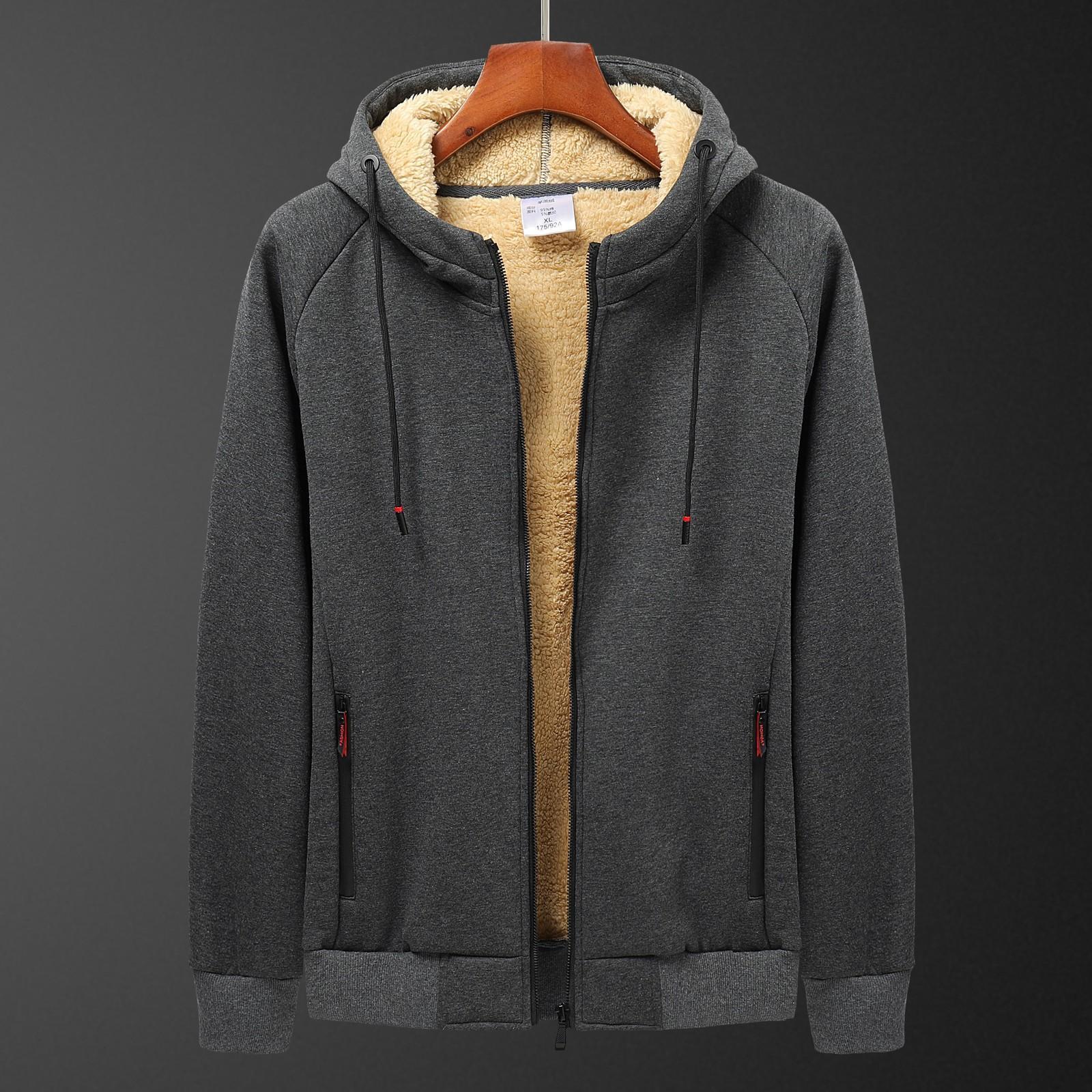 Winter Thicken Hooded cotton winter new plus cashmere men's casual lamb cashmere plus size Hoodie Plush coat L-8XL streetwear Z1208