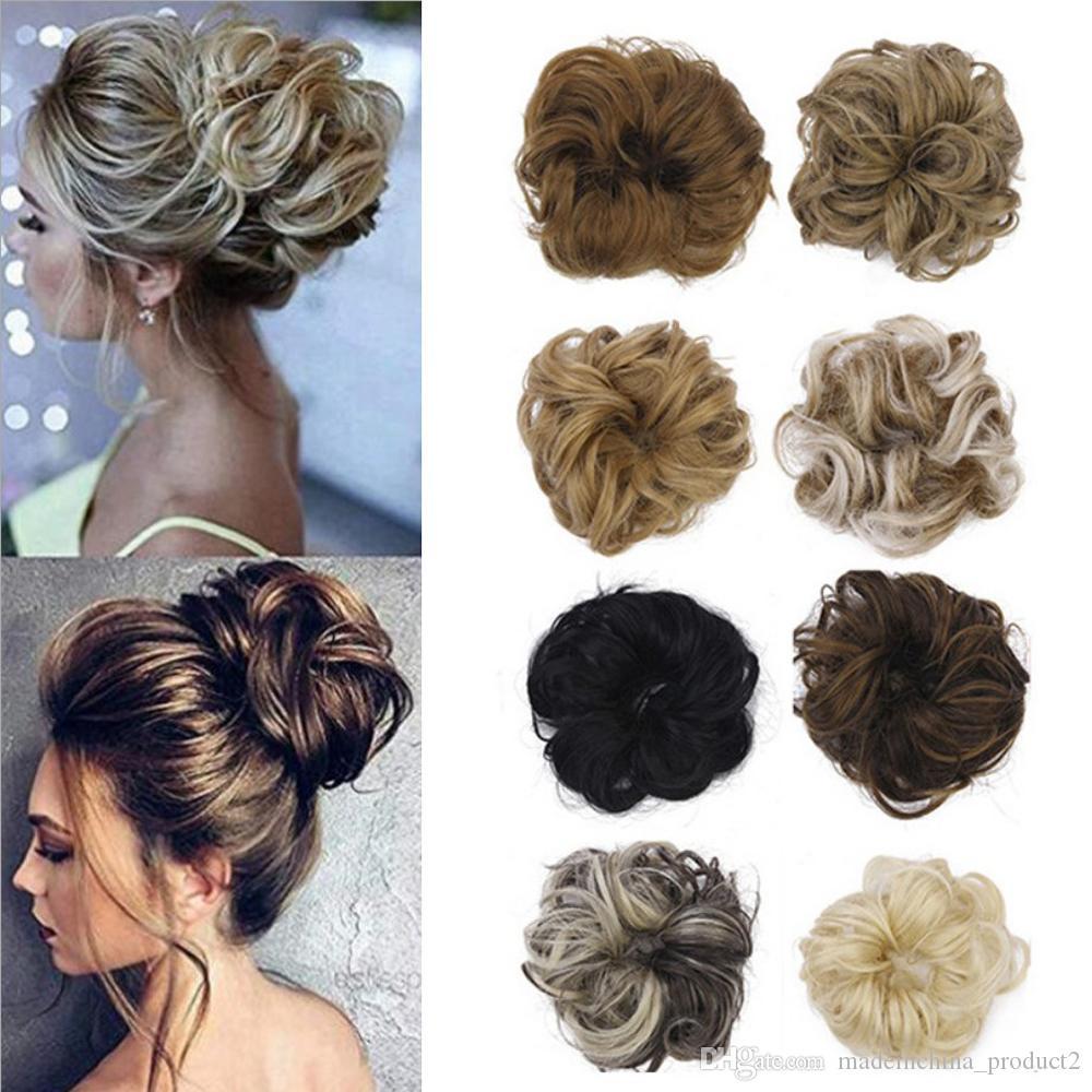 Pony Tail выдвижения волос Bun эластичного шиньон синтетических Scrunchies булочка волосы Updo пончик поддельных волосы шиньон для женщин