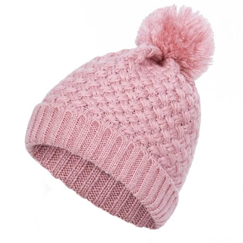 TRUENJOY بوم بوم قبعة الشتاء لفتاة المرأة قبعة محبوك بيني كاب سميكة زائد المخملية الطاقيه أنثى لون الصلبة بونيه