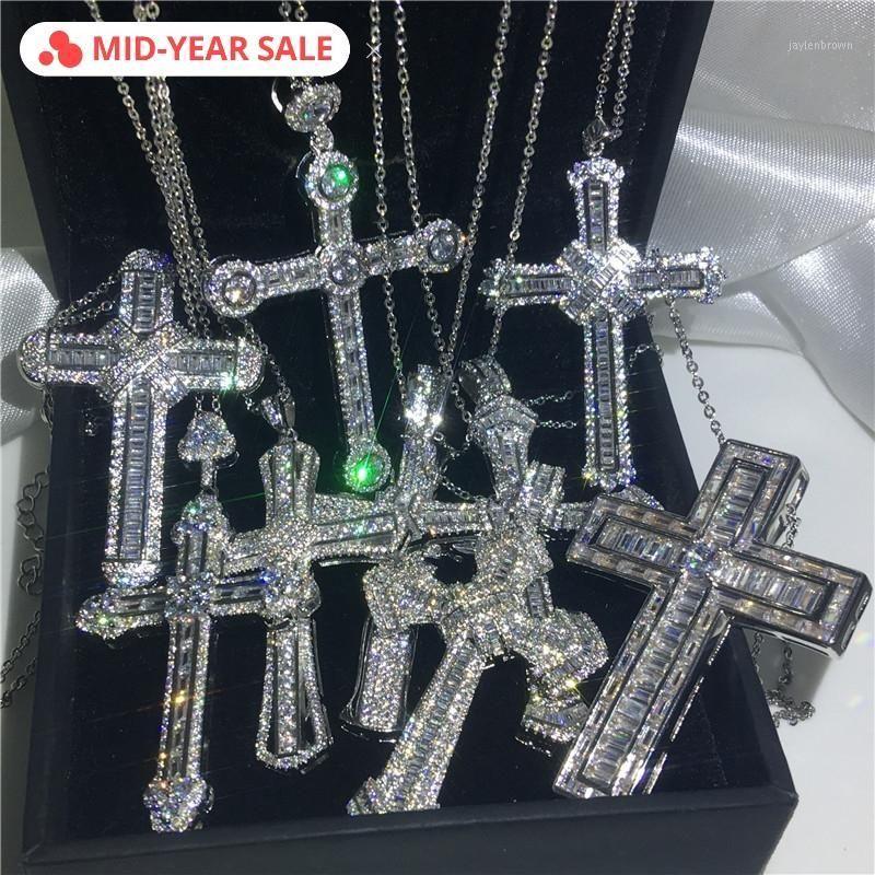 Vecalon handmade hiphop grande croce pendente a croce 925 sterling argento cz pietra vintage pendente collana per le donne uomini gioielli da sposa1