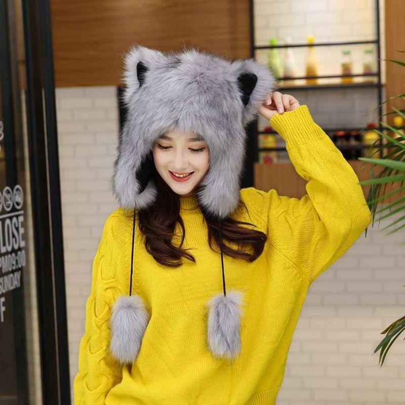 Beanie / черепные колпачки из искусственных меховых шляп шляпы женщины моделирование шляпа женщина хлопка шапочка зима кружев вязаная крышка белый серый
