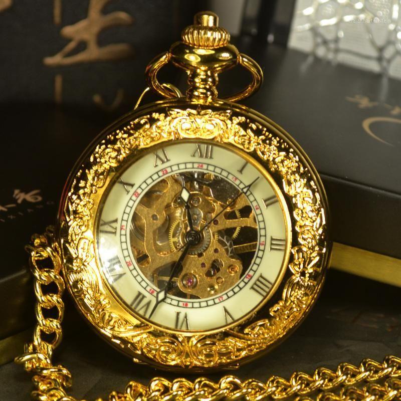 Wholesale-Tiedan Steampunk Steampunk Skeleton Montres de poche Mécanique Men Antique Main Collier Collier Poche FOB Chaîne de montre Gold1