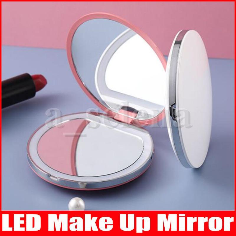 Portable LED Trucco Specchio Make Up Pocket Pocket Compact Cosmetic Mini LED Specchio Lampade a luci a luci con ricarica USB