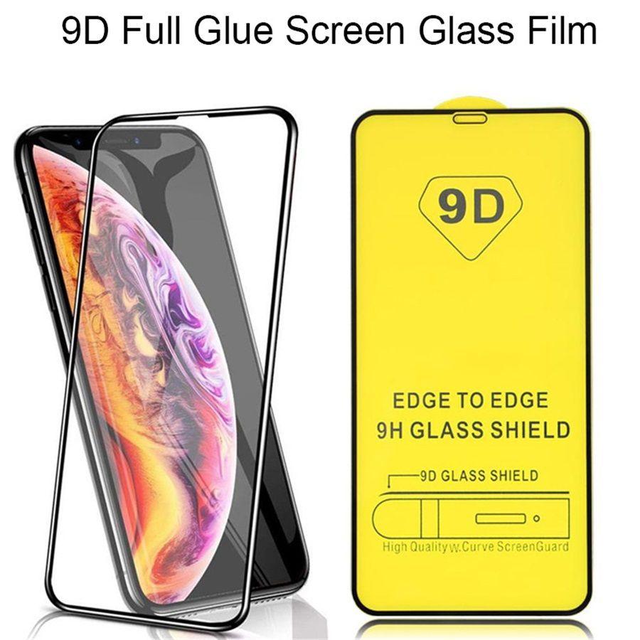 9DTempered Cam Tam Tutkal 9 H Ekran Koruyucu için iPhone 6 7 8 x XR 11 12 Pro Max Samsung Huawei Android Telefon