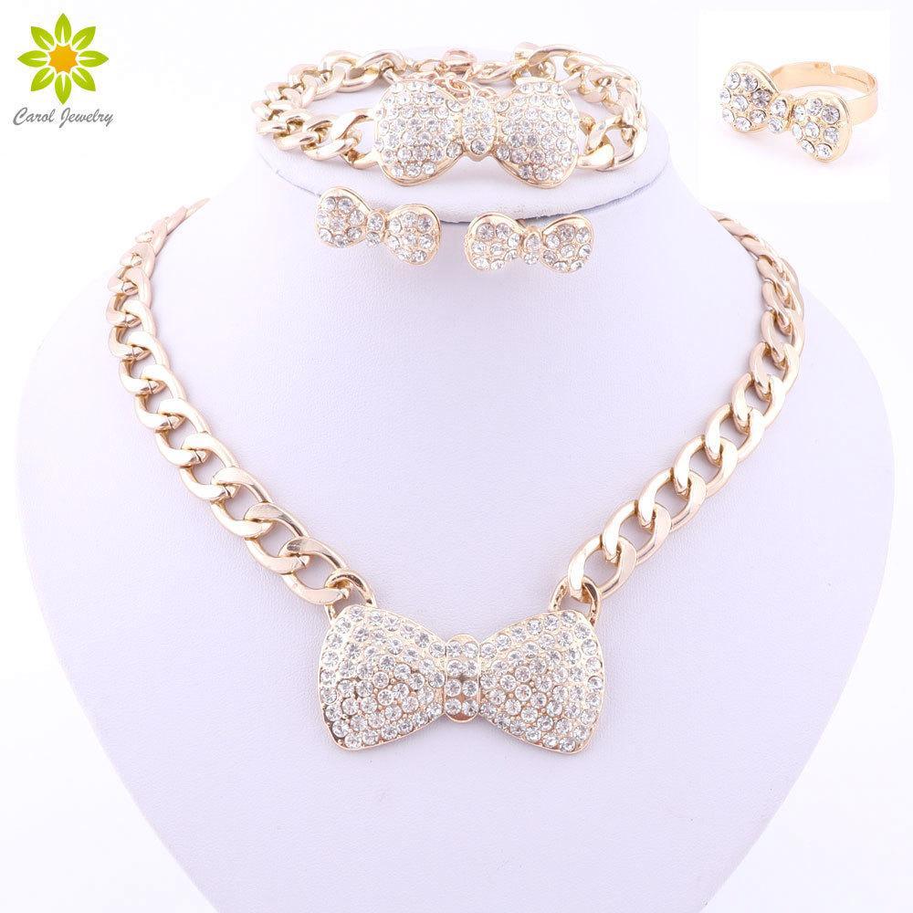 Afrika takı seti altın renk kristal yay takı setleri küpe bilezik yüzük kolye moda takı seti 3 renk 201222