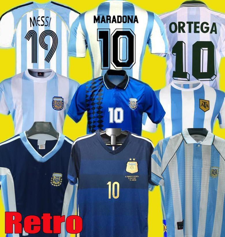 NCAA 1978 1986 1996 1994 1998 2006 2014 Argentina Messi Maradona Retro Soccer Jersey CanigiGia Batistuta Riquelme Ortega Home Away Futebol S