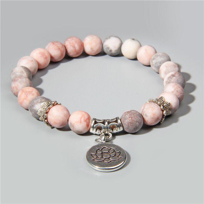 Handmade Natural Stone Lotus Ohm Buddha Beads Bracelet 19cm Pink Zebra Stone Lotus Charm Bracelets Bangles for Women Men Yoga Jewelry Gifts