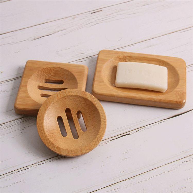 Натуральная бамбуковая древесина мыло для хранения блюда ванная комната круглые сливные мыльные коробки квадратный экологически чистый деревянный доносчик 9050