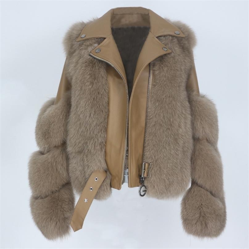 Oftbuy Real Piel Abrigo Chaleco Chaqueta de invierno Mujeres Natural Fox Piel Genuina Cuero Outerwear Outerwear Detachable Streetwear Locomotora 201214