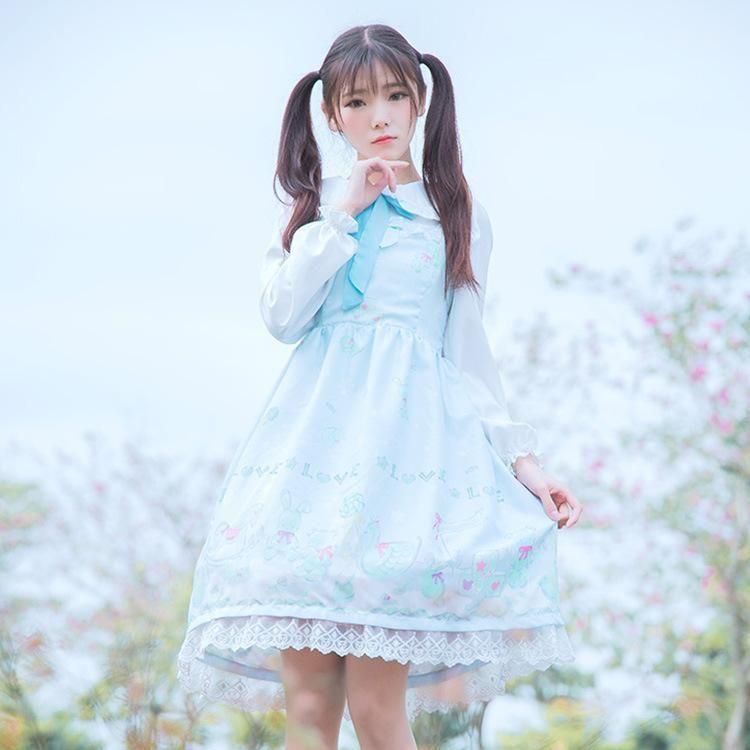 Тема костюм лолита ежедневная платье снежная кукла печать свет и сладостный без рукавов JSK слинг белая рубашка Tops1