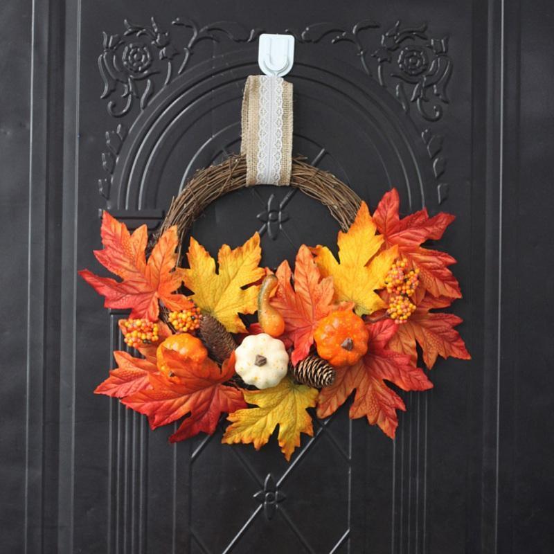 هالوين الخريف جارلاند الشكر الحرير اكليلا من الزهور الجدار الديكور مهرجان الحصاد بيري القرع اكليل