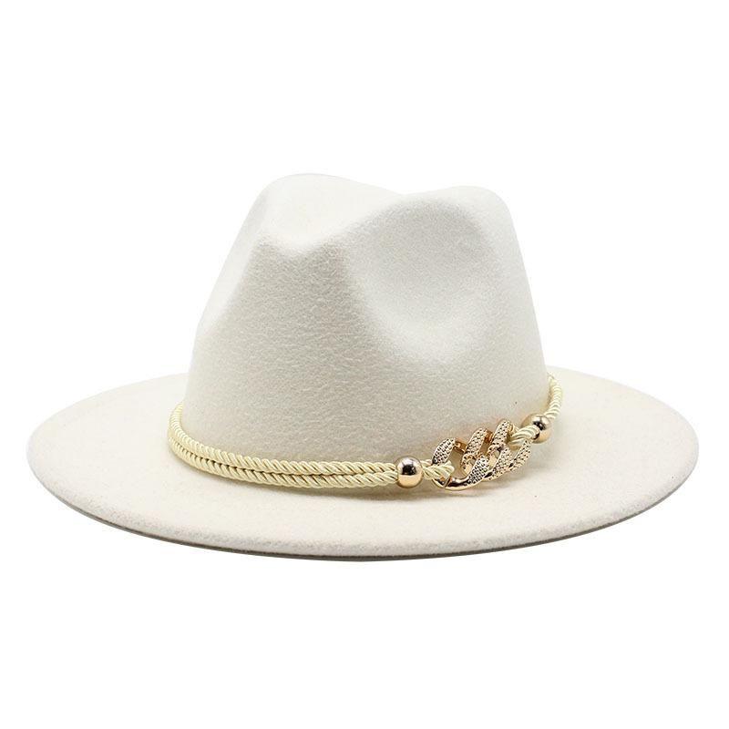 Black / Branco Grande Brim Chapéu Superior Simples Panamá Sólido Fedoras Chapéu Para Homens Mulheres Artificial Wool Blend Jazz Cap