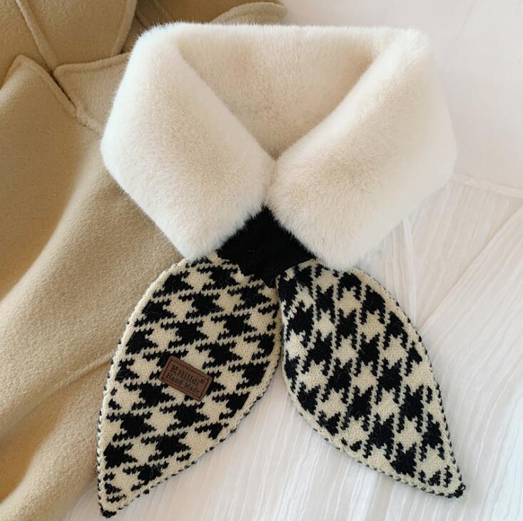 Mujer imitación conejo piel falsa collar babero invierno peluche bufanda, todo coincidencia babero cálido gd1165