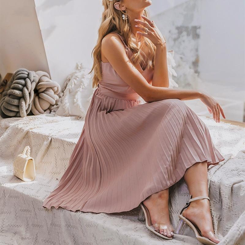Sexy Spaghetti ремешок летнее платье женщины a-line горячие розовые женские плиссированные MIDI платье повседневные офисные женские платья
