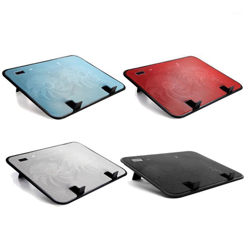 Panelas de refrigeração do laptop Painel de metal Dual fã notebook refrigerador de alta velocidade Almofada silenciosa Slim Stand Suportes para Acessórios para computador PC de 14 polegadas1