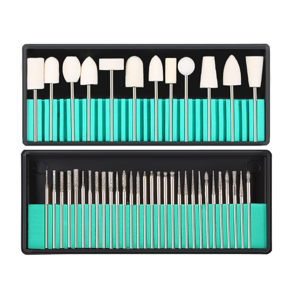 Bits de forage à ongles de 30 pcs + 13pcs Kit d'anethe à ongles de laine 3/32 '' Shank for ongle Art Heuilling tête de broyage pour la peau morte