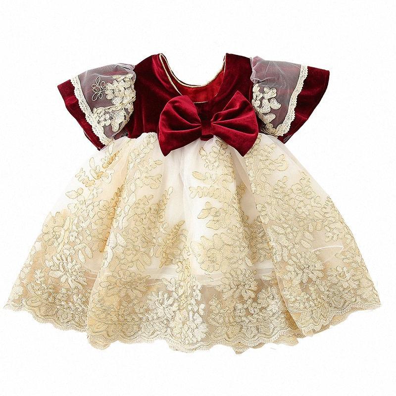 Ropa de las muchachas de los niños del bordado elegante de la boda vestido de cumpleaños vestido de bola vestidos de los niños niñas con el arco grande 0-4y QBA3 #