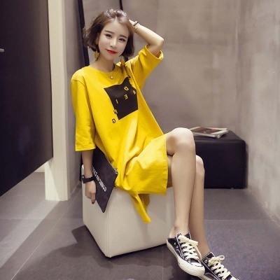 Ozak9 été coréenne nouveau court-coréen lâche moyenne robe dresstop dresslength T-shirt style des femmes manches demi-robe fendue femmes étudiant