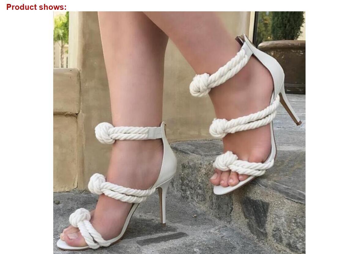 Sommer-Frauen-Sandalen mit Charme Schwarz Weiß Grün Seil Knoten High Heels mit Reißverschluss hinten dünne Fersen-Partei-Hochzeit Sandalen Big Size 42