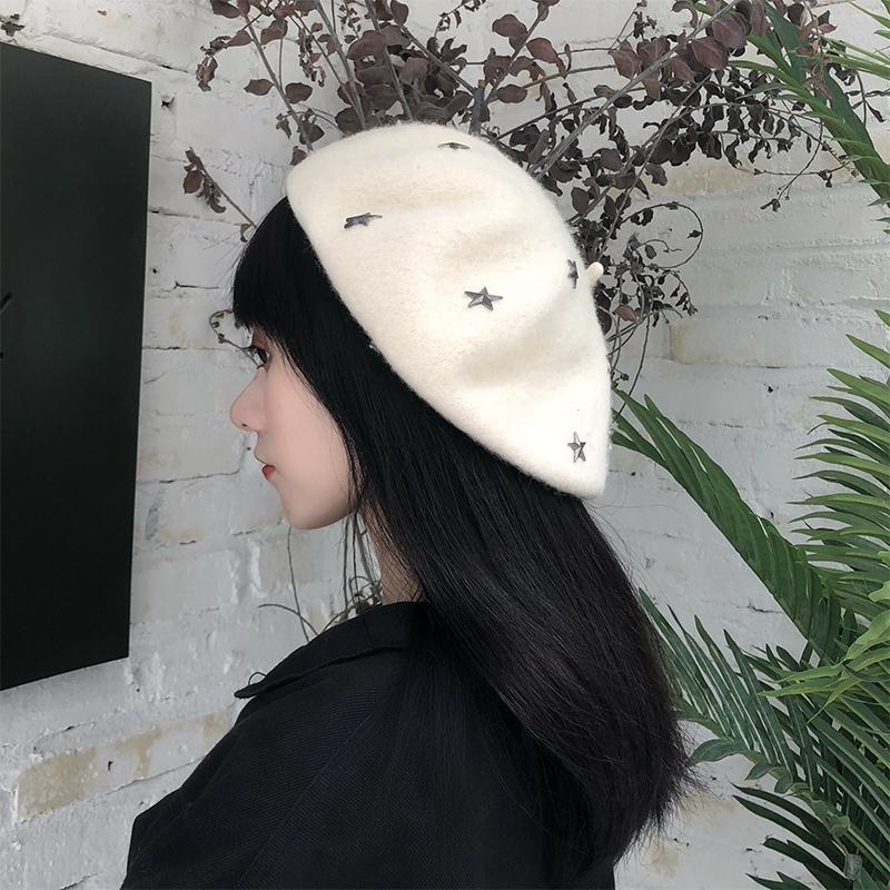 Berety h3544 kobiety beret kapelusz pani gwiazda nit malarz czapka dziewczyna wiosna jesień ciepły wszystkie mecz wysokiej jakości mody casual shopping kapelusze