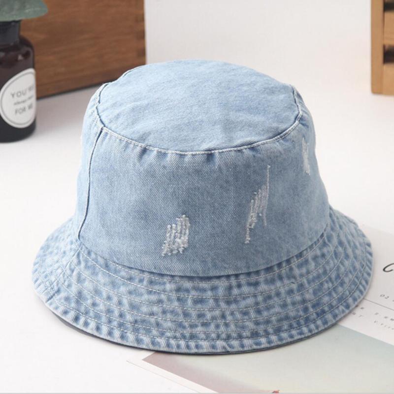 세탁 구멍 데님 태양 모자 여성 패션 술 플로피 모자 숙녀 챙이 넓은 비치 여름 버킷 모자면 접을 수 Chapeu