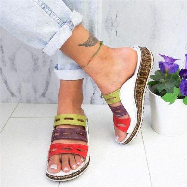 WDHKUN 2020 Новое лето женщин сандалии сандалии Строчка Ladies Open Toe Повседневная обувь Платформа Клин Слайды Бич обувь обувь для тенниса Oxf SlpL #