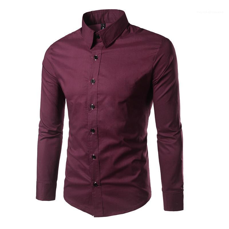 lepal الرقبة واحدة اعتلى طويلة الأكمام قمم مصمم رجل ملابس 21FW الأزياء soild اللون قميص رجالي