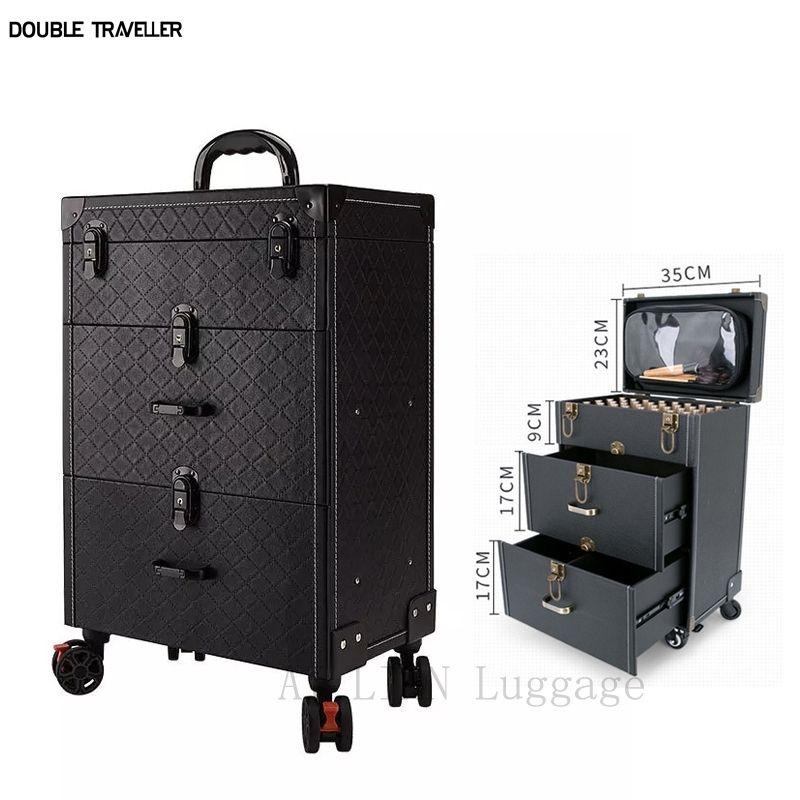 Trolley Cosmetic Case Spinner Räder Make-up-Kommode Schönheitswagen Gepäck Rolling Koffer Professionelle Große Kosmetiktasche Neue 201201
