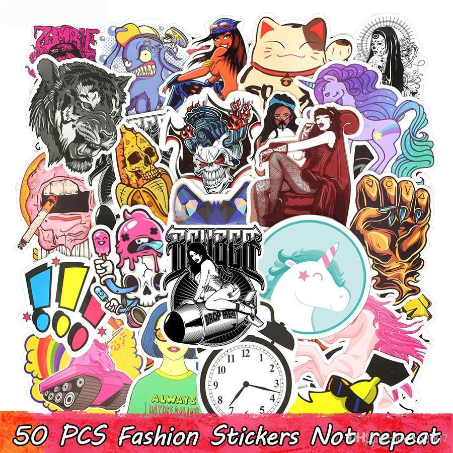 50 PCS moto autocollants Graffiti Drôle Cool Anime Stickers Sticker Décoration Snowboard mur de guitare portable Casque de vélo Autocollants