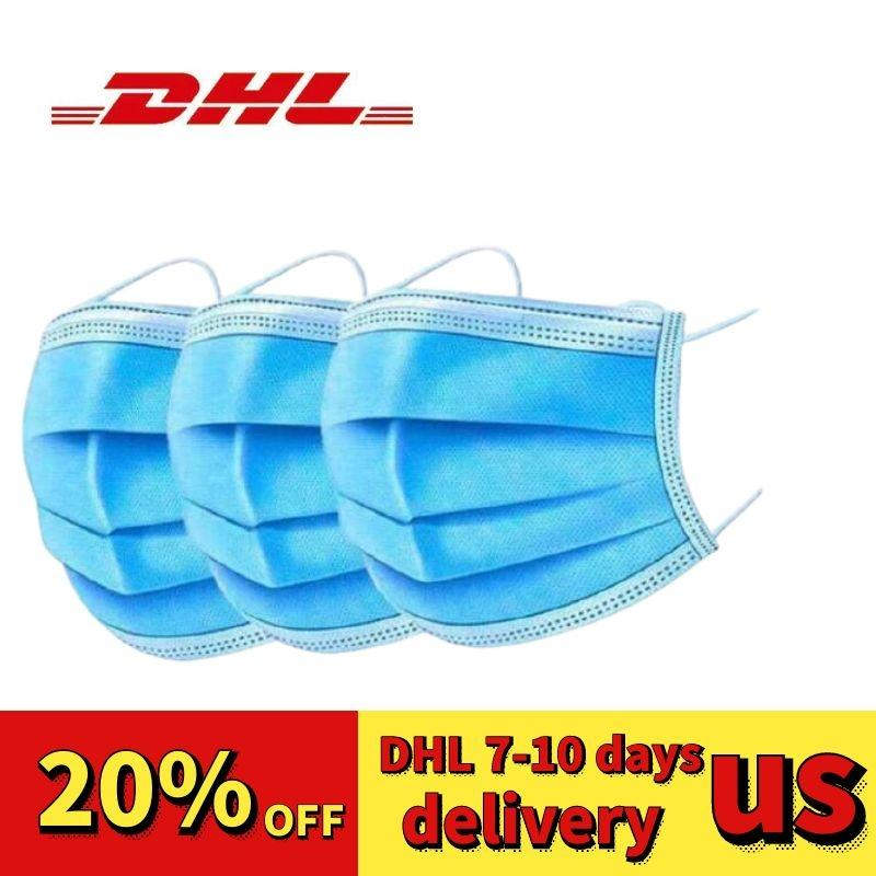 DHL free shop 48 hours 50pcs disposable Thick three Layer face masks face masks dust-proof masque jetable Large quantity can be customized