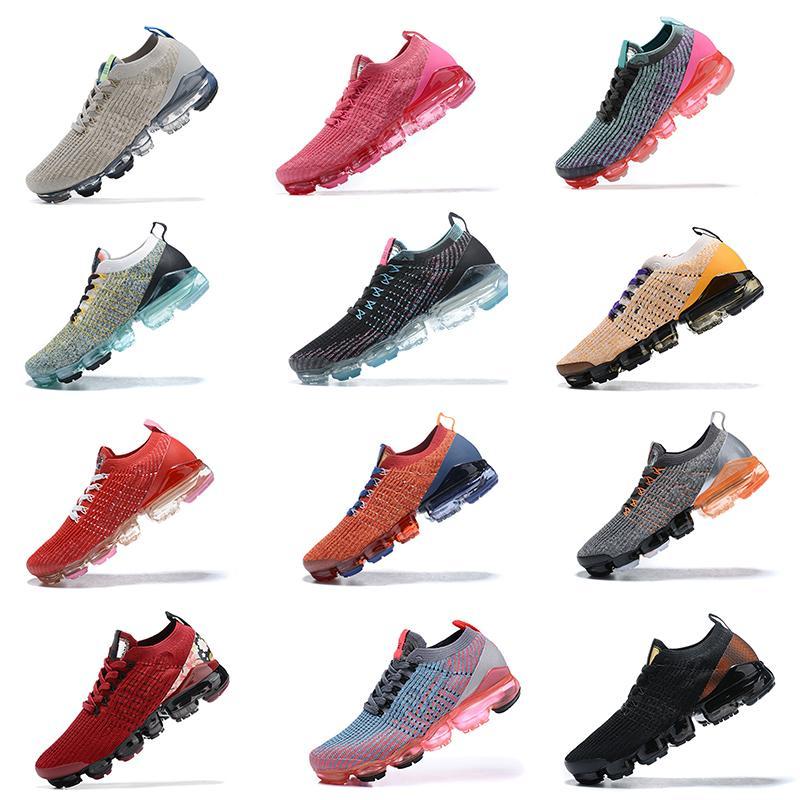 Air Vapormax مصمم الرجال النساء يطير Chaussures حك موك 3 الاحذية الرياضية فاز بالمركز الثاني في ترف السيدات الثلاثي الأسود أحذية رياضية الأبيض في الهواء الطلق Maxes المدربين