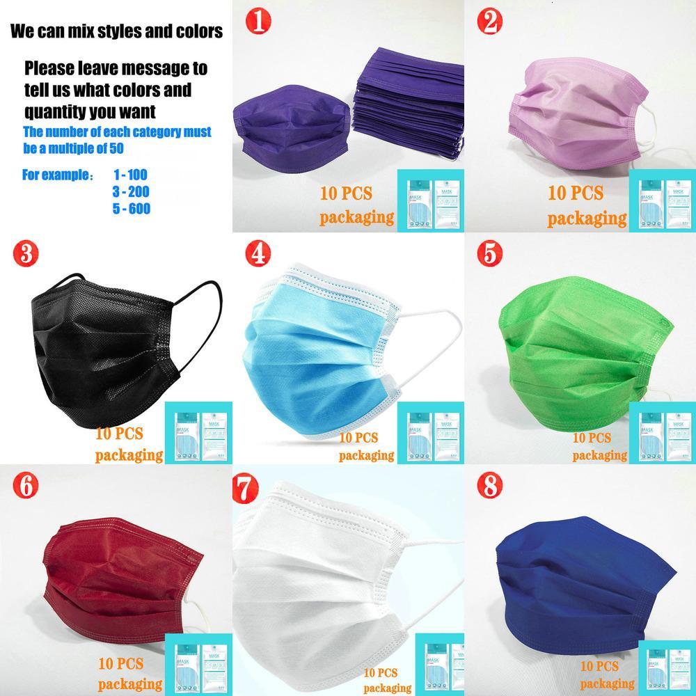 Monouso 15 colori moda maschera non tessuta maschera 10pcs retail livelli pacchetto nero 3 maschera protettiva viso scudo adulto bambini all'ingrosso in Y9