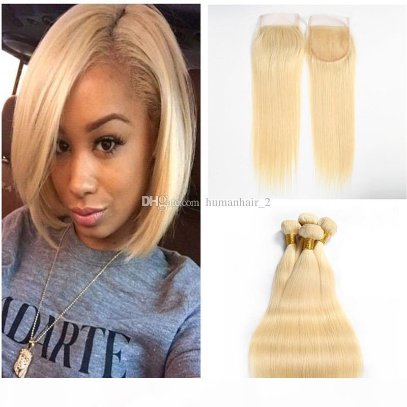Color 613 blonde Peruvian Virgin silky Straight hair Human Hair bundles with top lace closure 3bundles with closure free shipping