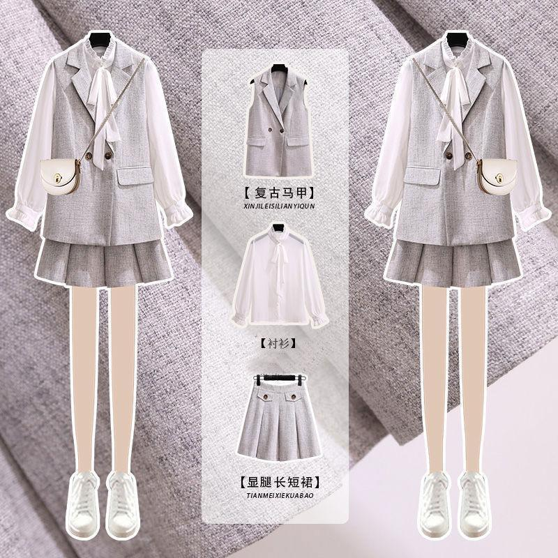 traje de falda versión coreana del nuevo profesional de desgaste temperamento diosa ventilador pequeño desgaste de otoño con alta coincidencia