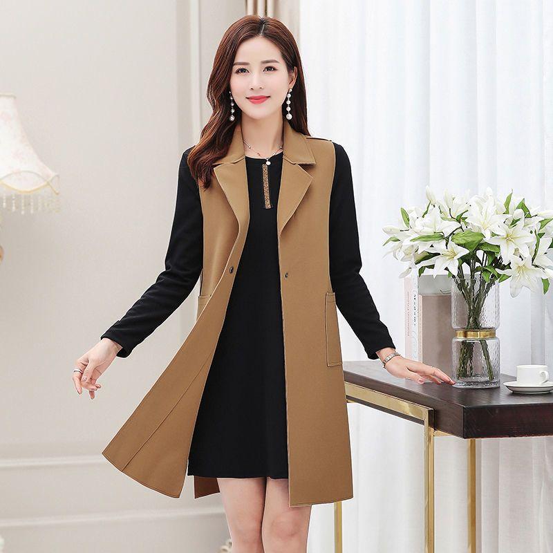 2020 New Spring Autumn Women Casual Long Vest Female Sleeveless Jacket Button Elegant Office Lady Waistcoat Plus Size 5xl A200